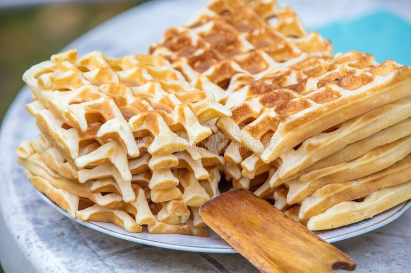 A pile of homemade Belgian Waffles stock image