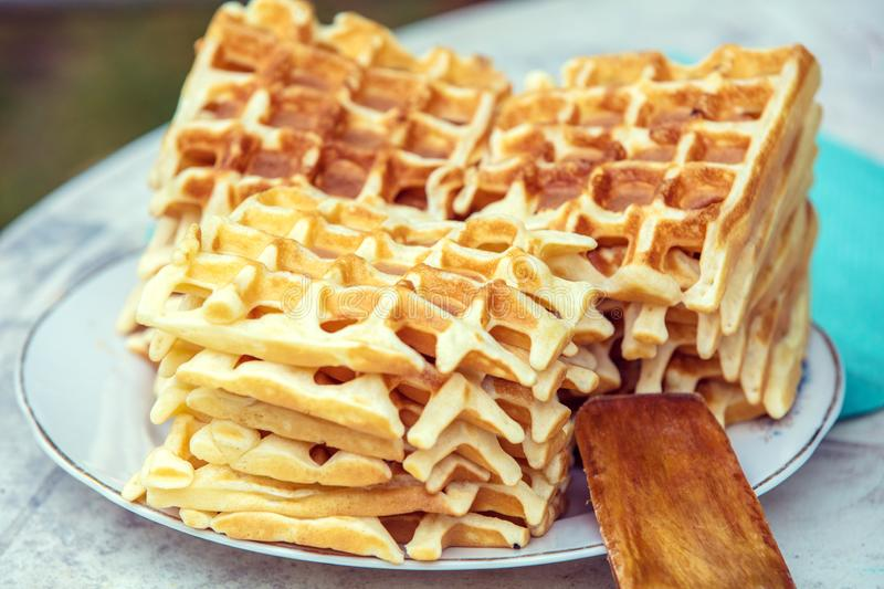 A pile of homemade Belgian Waffles stock photography