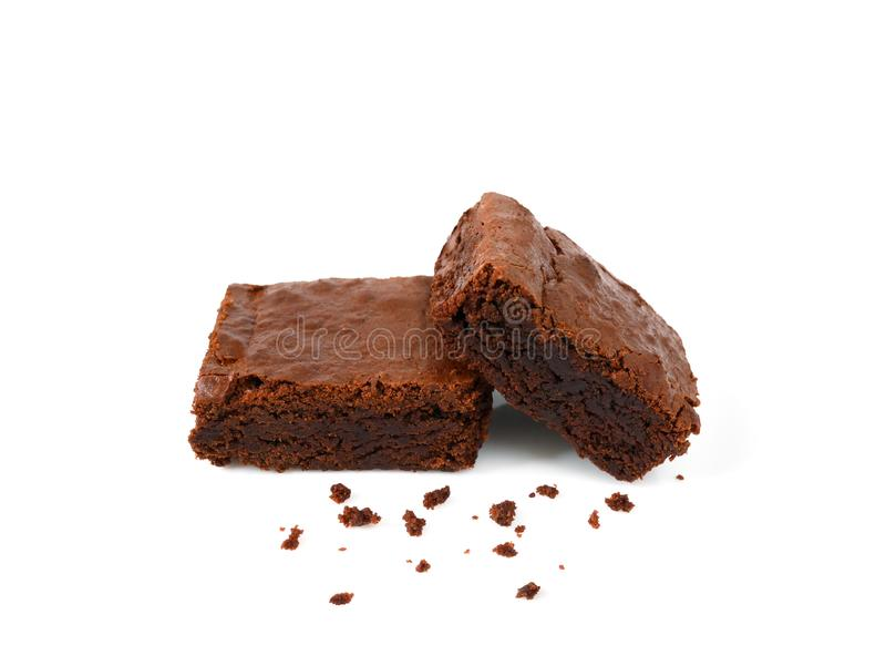 Pile of homemade brownies with crumbs stock images
