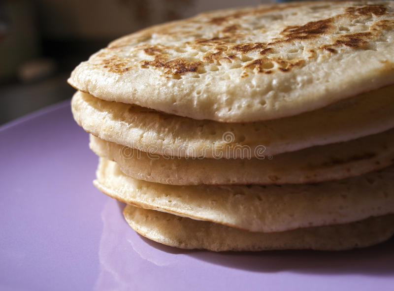 Pile of homemade pancakes royalty free stock photo