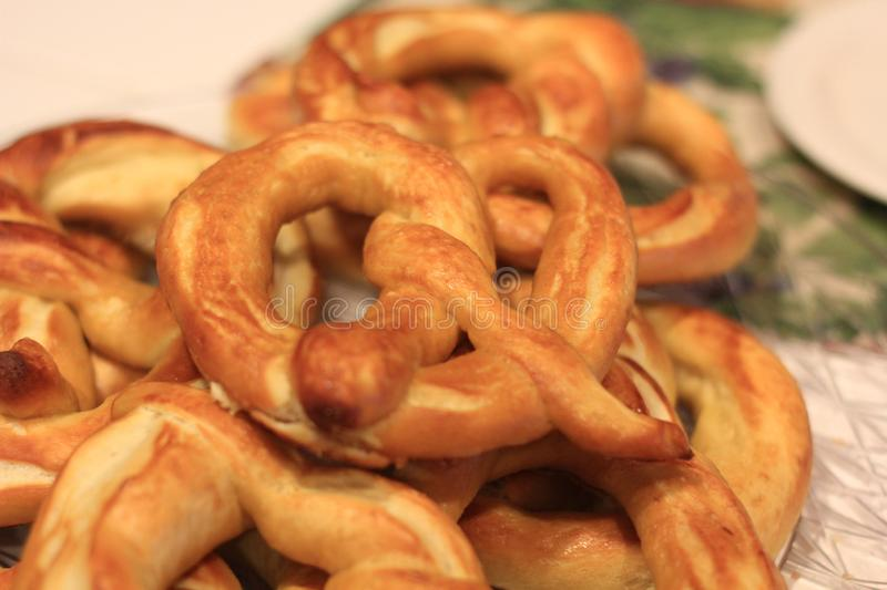 Pile of Homemade pretzels stock image