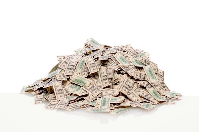 Pile of hundred dollar bills stock image