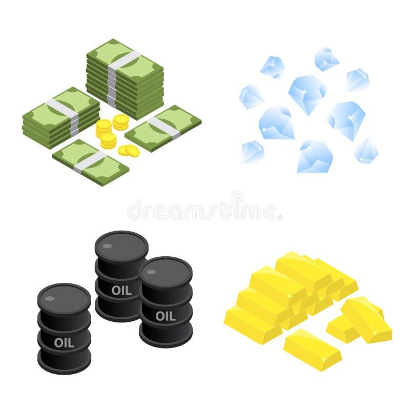 Pile isométrique d'icône plate de vecteur de barre d'argent, de diamant, de pétrole et d'or illustration libre de droits