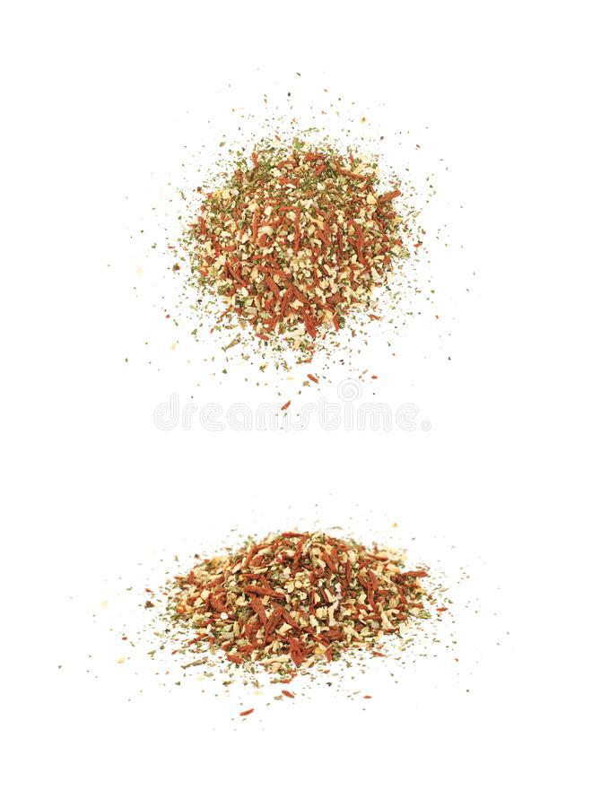 Pile of italian spices isolated stock photos