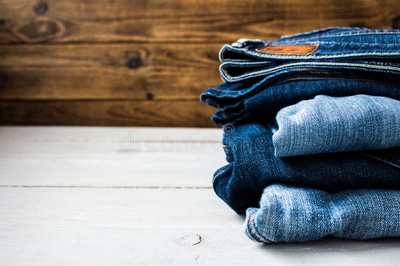 A pile of jeans royalty free stock photo