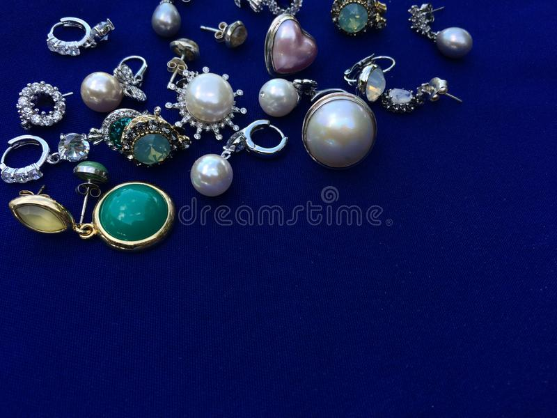 A pile of jewelry accessories for beautiful lady. They`re fabulous in vintage style. Closed up image royalty free stock image