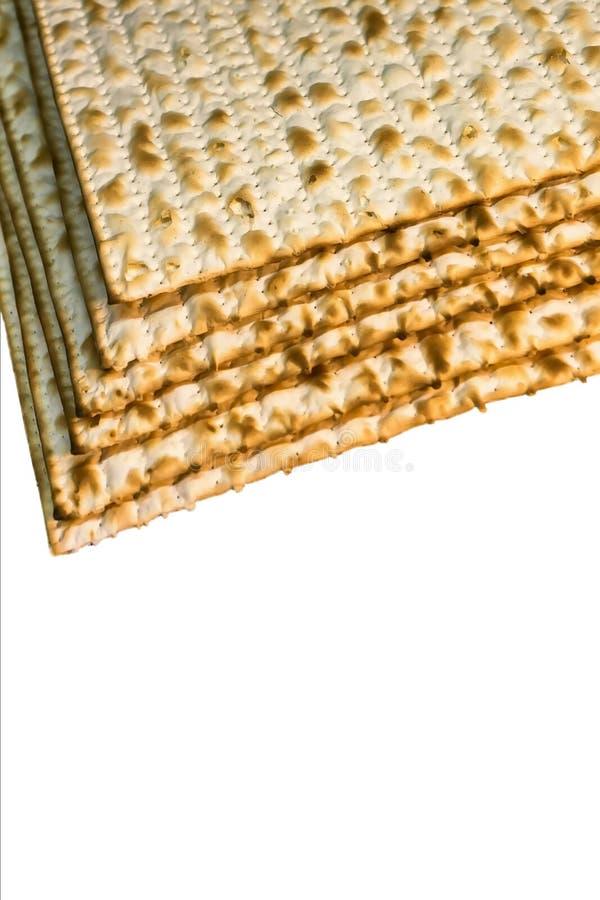 Pile of Jewish Matzah bread. Pesach matzo on white background royalty free stock photos