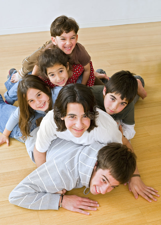 Download Pile of kids stock photo. Image of loving, girl, four - 7461236