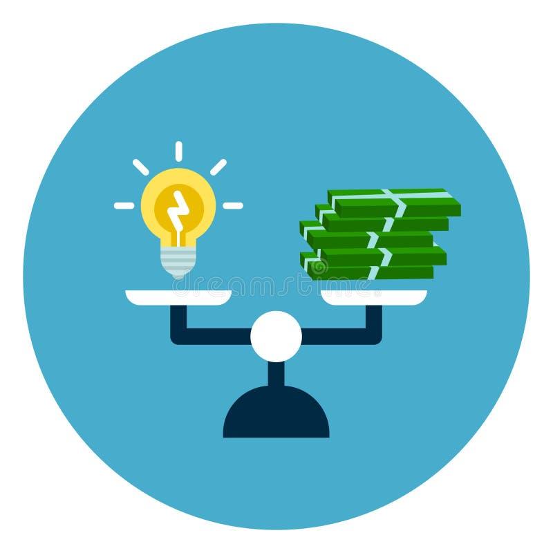 Pile légère de bulle et d'argent sur le bouton de Web d'icône d'échelles d'isolement sur le fond rond bleu illustration libre de droits