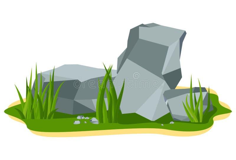 Pile of large gray boulder rock stones lie on a summer lawn stock illustration