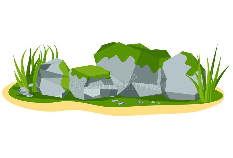 Pile of large gray mossy boulder stones vector illustration