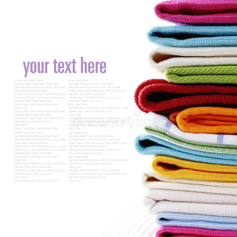 Pile Of Linen Kitchen Towels Royalty Free Stock Photos
