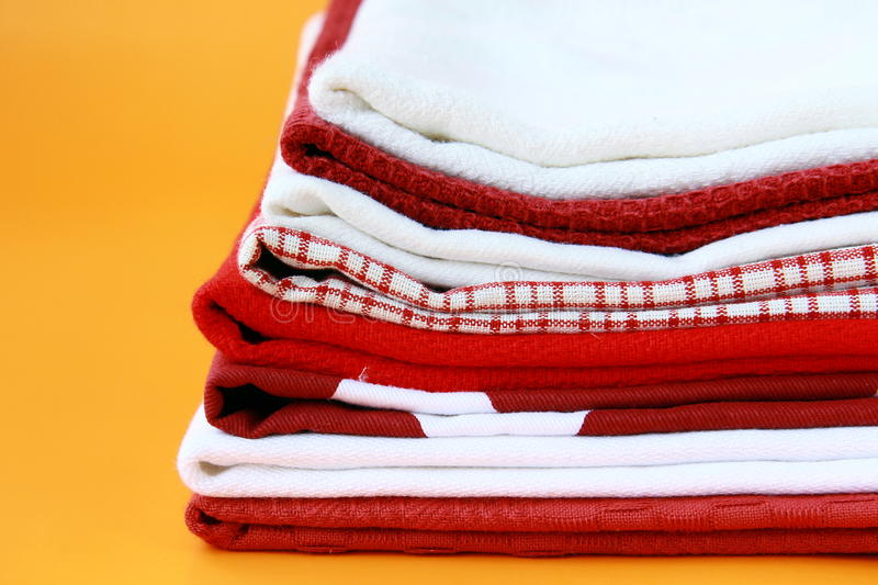 Download Pile Of Linen Kitchen Towels Stock Photo - Image of cotton, house: 19274808