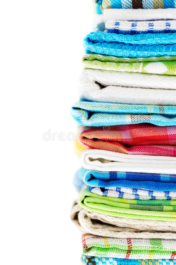 Download Pile Of Linen Kitchen Towels Stock Image - Image: 29105313
