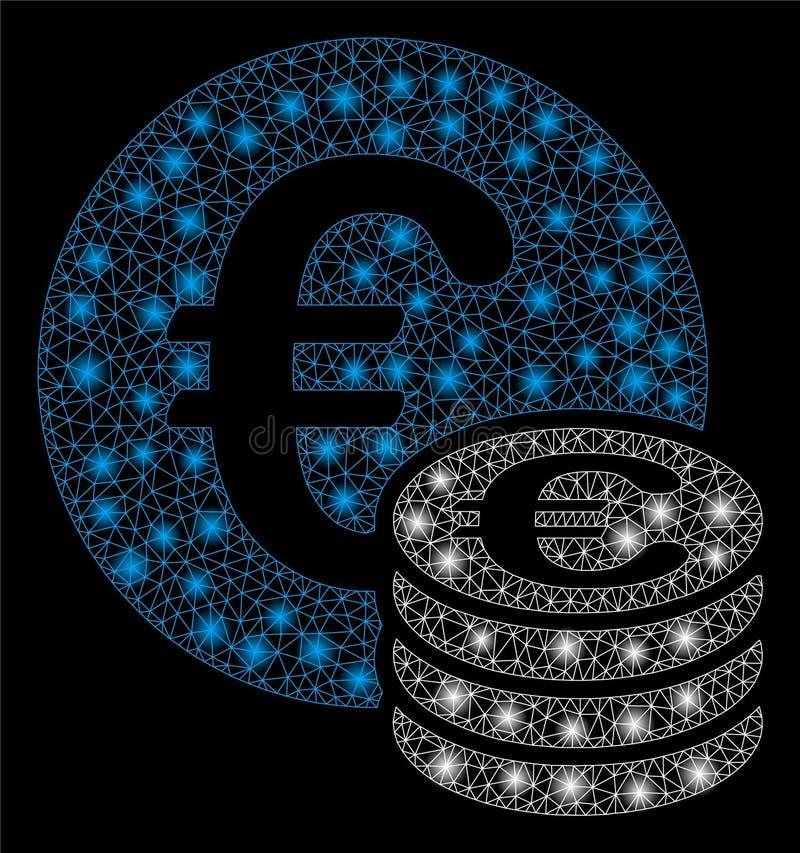 Pile lumineuse de Mesh Wire Frame Euro Coin avec les taches lumineuses illustration stock