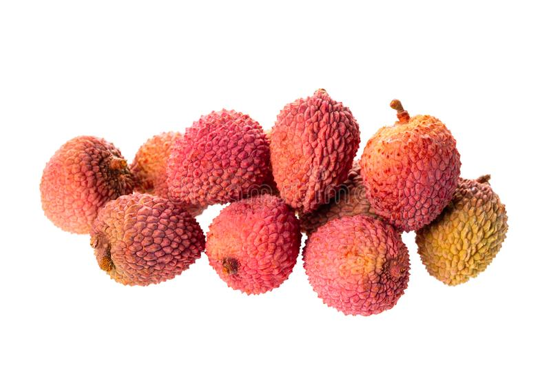 Pile of lychee isolated on white background stock photo