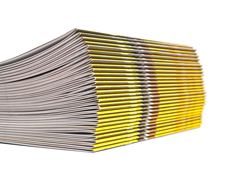 Pile of magazines. On the isolated white background royalty free stock photos