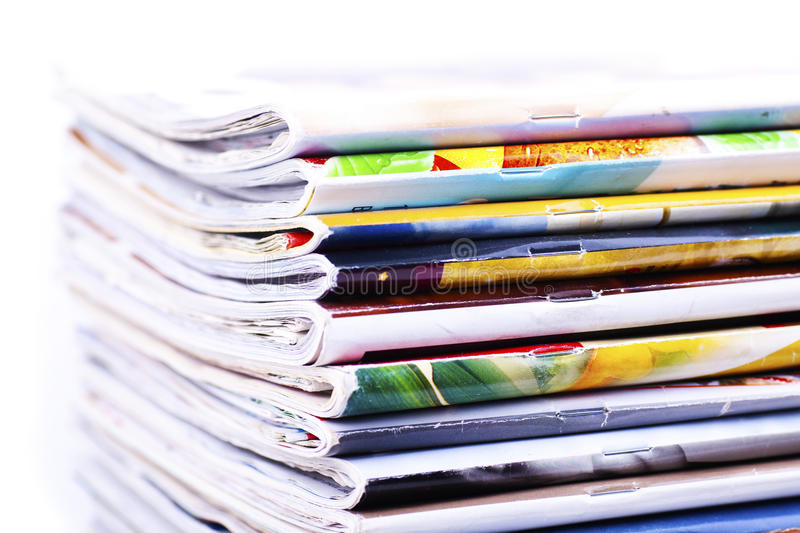 Download Pile of magazines isolated stock photo. Image of news - 23876476