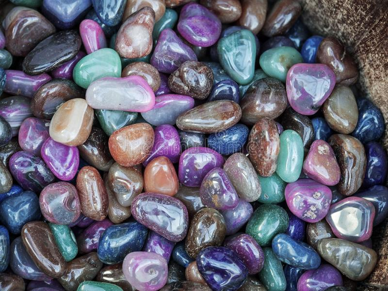 Pile of many different colored gem stones, Different shape, close in size. Rock shop display. Pile of many different colored gem stones , Different shape, close royalty free stock photo