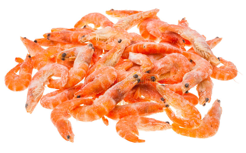 Pile from many frozen shrimps isolated on white stock photos