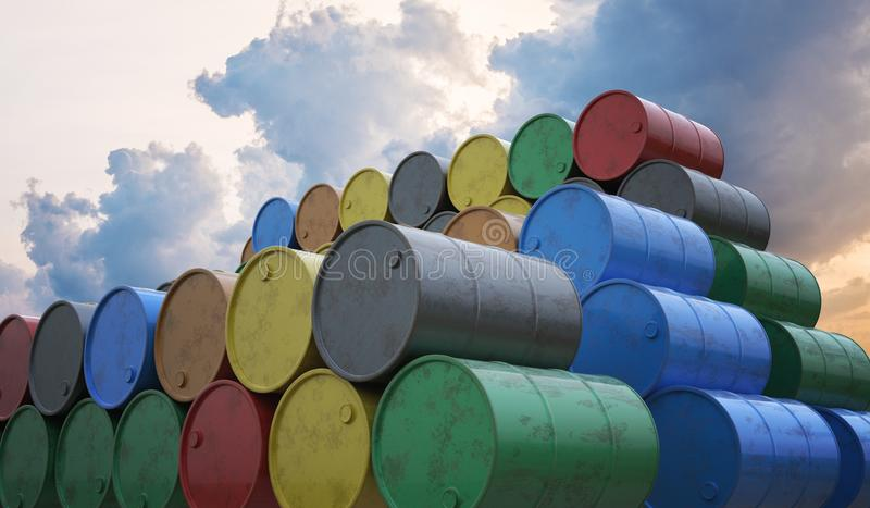 Pile of many oil barrels. 3D rendered illustration.  vector illustration