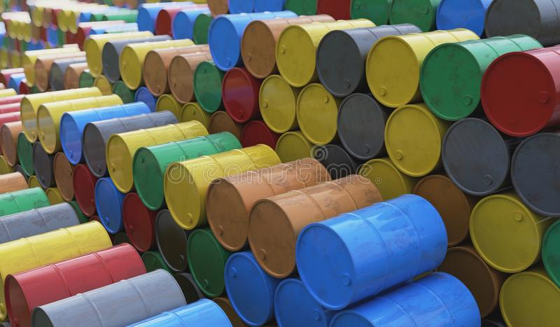 Pile of many oil barrels. 3D rendered illustration vector illustration