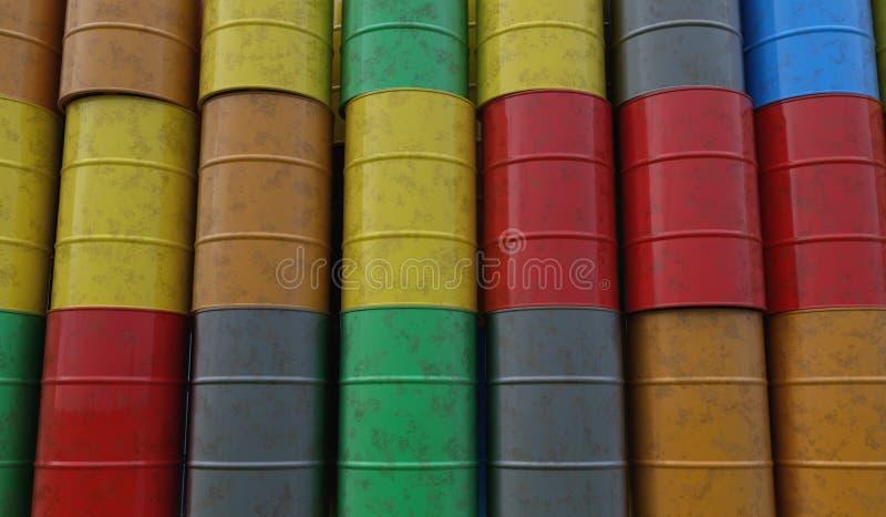 Pile of many oil barrels. 3D rendered illustration royalty free illustration