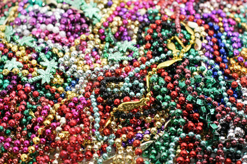 Pile of mardi gras beads. Pile of colorful Mardi Gras beads stock photo