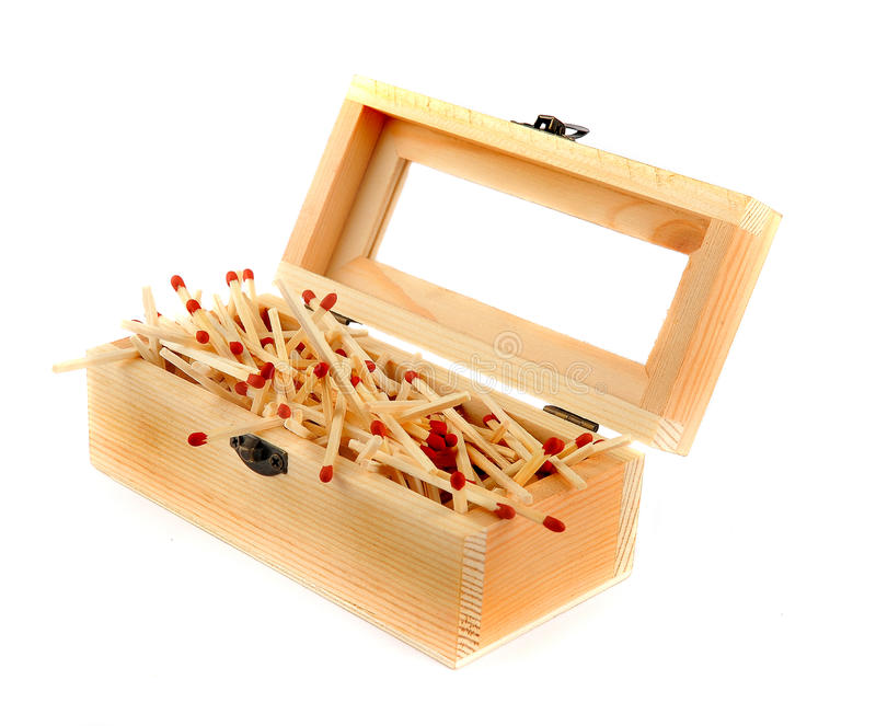 Pile of Matches In a Wooden Box royalty free stock photos