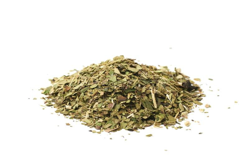 Pile of mate tea leaves isolated royalty free stock photo