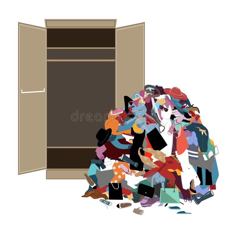 Pile of messy girl or lady clothes gotten out of closet. Untidy cluttered woman wardrobe. stock illustration