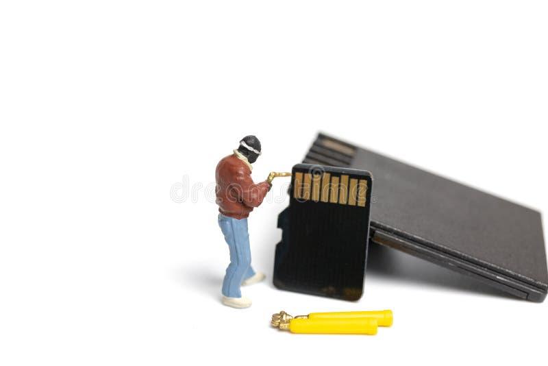Pile miniature de fixation de technicienne de personnes des cartes d'écart-type sur le fond blanc image libre de droits