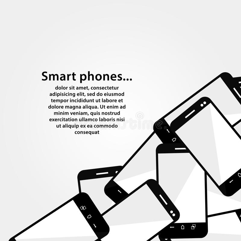 Pile of mobile phones. Modern design background wi. Th smart phones. Much space for your content. Modern design. Square vector background royalty free illustration