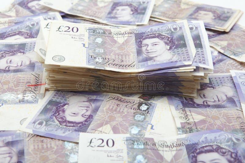 Pile of money. Money, pile of UK twenty pound notes