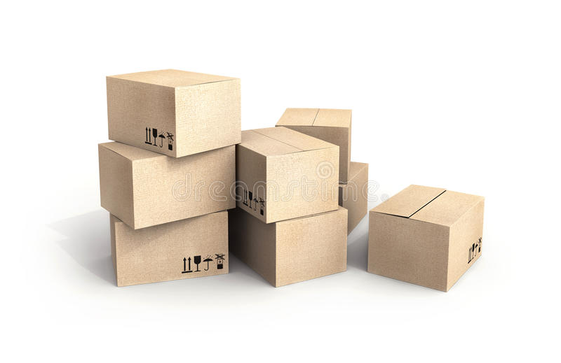 Pile of new cardboard boxes on white royalty free illustration