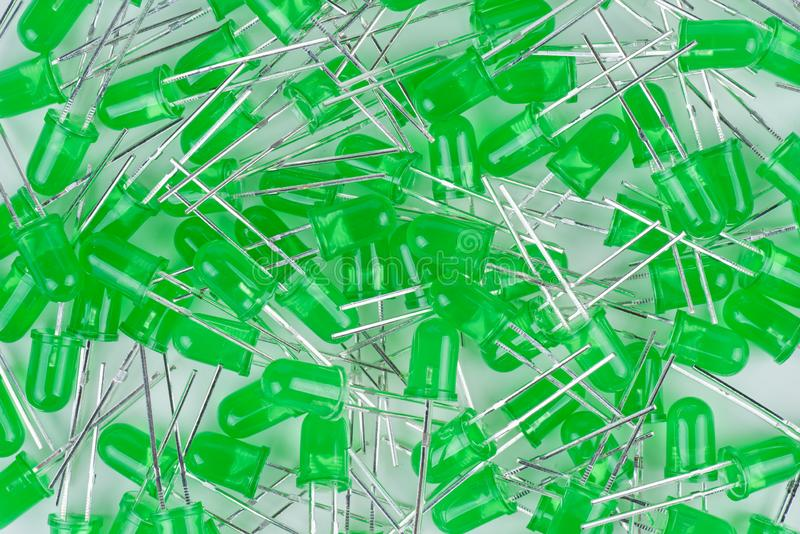 Pile of new green 5mm LEDs royalty free stock image
