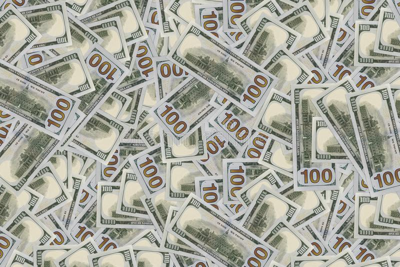 Pile of new and old one hundred dollar bills bills. stock image