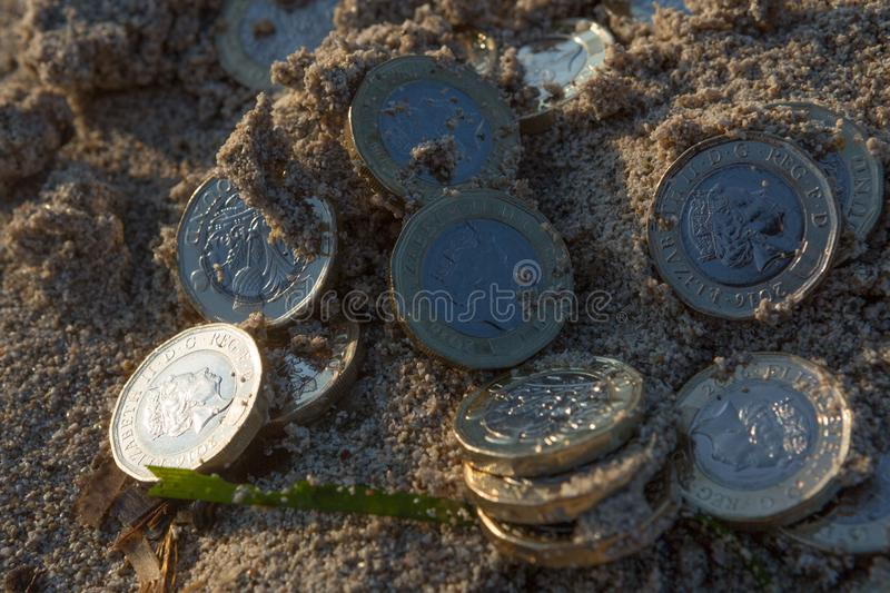 Pile of new Pound coins stock photo
