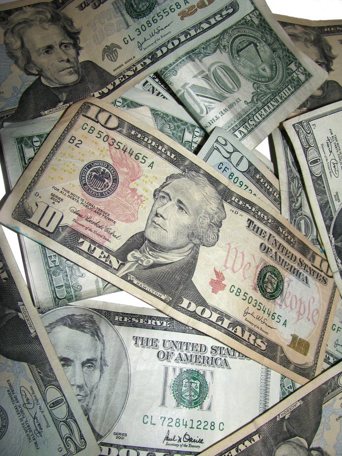 Free Pile Of US Dollars On White Stock Images - 5514994