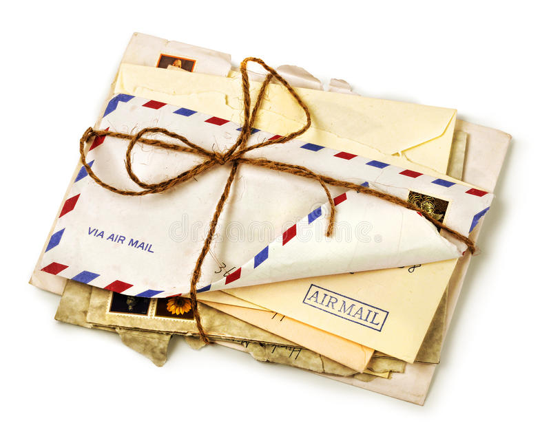 Pile of old airmail letters royalty free stock photos