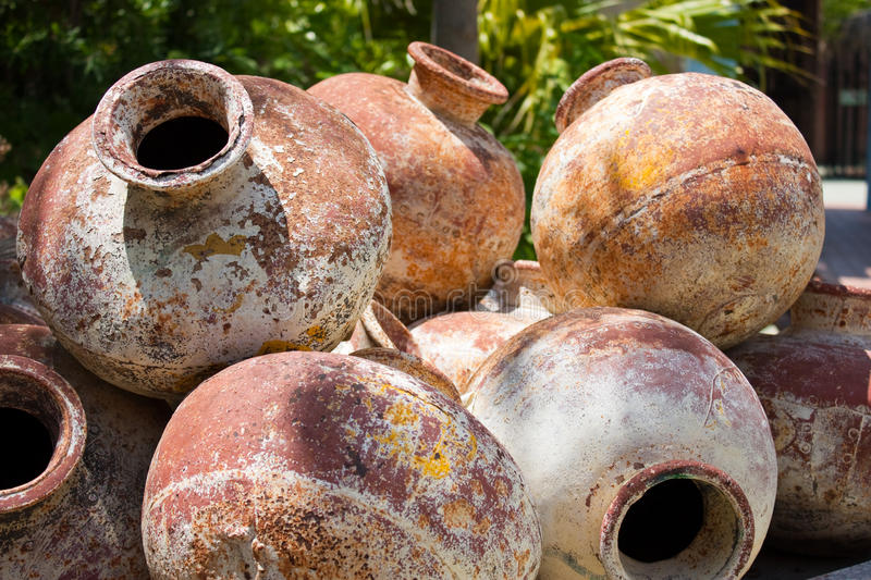 Pile of old amphoras stock image