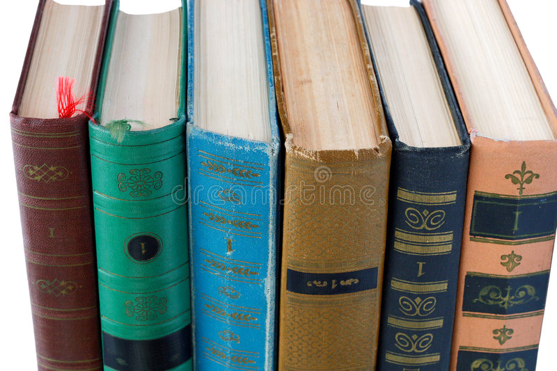 Pile Of Old Antique Books On White Background Royalty Free Stock Images