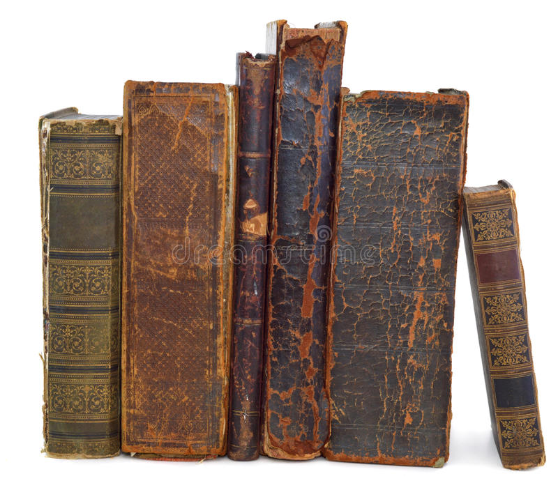 Old books vertical stock images