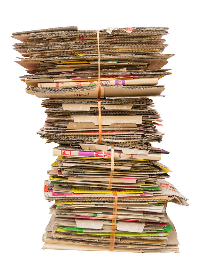 Pile of old cardboard boxes for recycling. On white background stock image