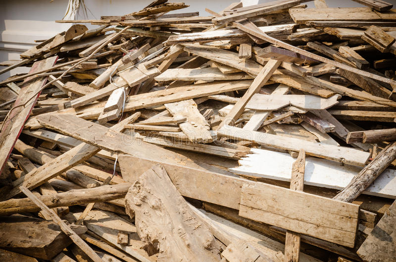 Pile of old and dirty lumber stock photo image