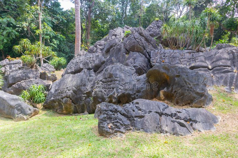 Pile of old and giant rock near the mountain. At thailand royalty free stock photos