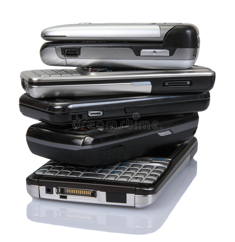 Pile of old mobile phones stock image