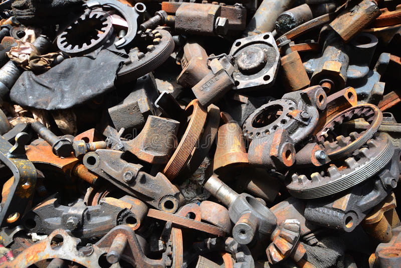 Pile of old motor parts scrap metal for recycling stock photos
