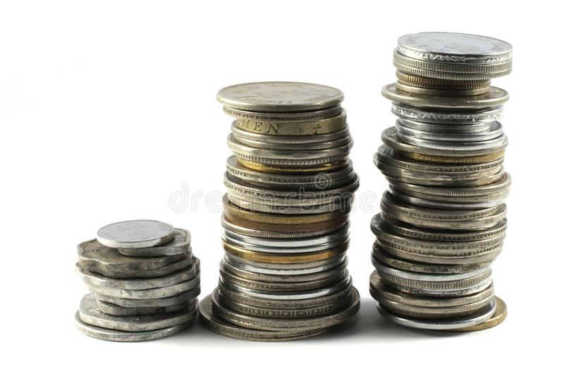 A pile of old and new Indian Currency Coins royalty free stock photography