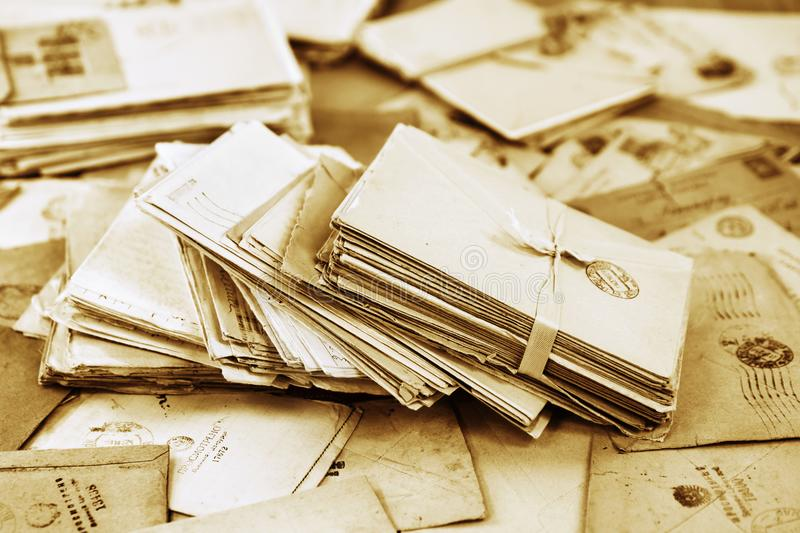 Pile of the old paper mail letters stock photo